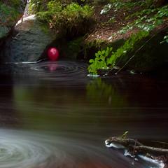 Red balloon on the water (A1yson) Tags: longexposure red water sheffield balloon wymingbrook flickrchallengegroup flickrchallengewinner flickrnova