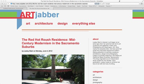 June 4, 2012: ArtJabber blog post about the Roush Residence event