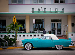 Ford Thunderbird in front of the Avalon Hotel - South Beach, Miami FL (ChrisGoldNY) Tags: street blue cars ford forsale florida miami classics posters artdeco fl hotels miamibeach thunderbird southbeach avalon streetscenes bookcovers albumcovers southflorida sobe oceandrive hotelchatter miamist chrisgoldny chrisgoldberg chrisgold chrisgoldphotos
