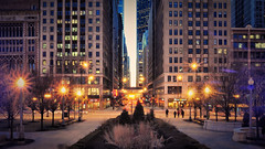 The Loop at Night (Seth Oliver Photographic Art) Tags: nightphotography chicago illinois nikon midwest iso400 cityscapes milleniumpark nightshots lighttrails theloop pinoy downtownchicago nightscapes circularpolarizer urbanscapes nightscenes longexposures chicagoist d90 nightexposures 10secondexposure manualmodeexposure setholiver1 aperturef220 tripodmountedshot 1024mmtamronuwalens timedelaytriggeredshot croppedto16x9