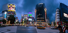 Shibuya Sramble (pano) (J.R.Photography) Tags: blue panorama japan canon crossing pano shibuya rush hour  5d scramble explored 5d3