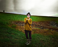 Lost (Callan Kapush) Tags: park woman girl field grass rain weather hail female clouds sweater nikon boots wind sister thunderstorm lightning thunder darkclouds rainboots 35mmlens ominousclouds severethunderstorm nikond3100 callankapush callankapushphotography