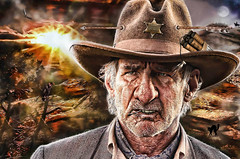 Arizona Jones (when he's 80) (The PIX-JOCKEY (visual fantasist)) Tags: birthday old sunset arizona portrait sun moon celebrity film photoshop movie twilight cowboy joke harrisonford fake manipulation humour hollywood western vip photomontage caricature actor bday arrow sheriff 80 70 ritratto fotomontaggi robertorizzato pixjockey