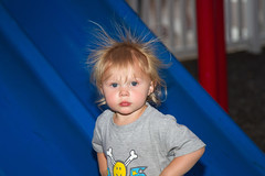 Hair Raising Experience 5683 (casch52) Tags: park baby cute girl female laughing canon hair fun photo funny child slide photograph experience 7d laugh electricity static shock haha shocking raising