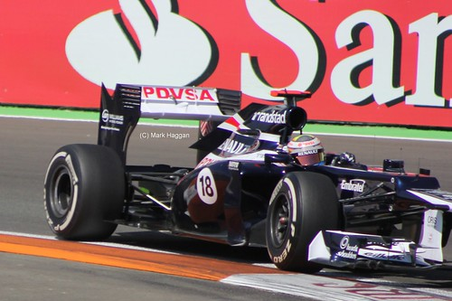 Pastor Maldonado in his Williams F1 car at the 2012 European Grand Prix in Valencia