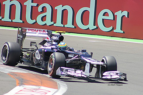 Bruno Senna in his Williams F1 car during the 2012 European Grand Prix in Valencia