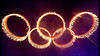 The Olympic Rings come together at the ' Opening of the Olympic Ceremony ' Shown on BBC1 HD London, England