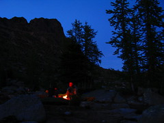 Backcountry Camping (Dru!) Tags: blue camping red sky orange silhouette night dark fire dusk campfire backcountry wilderness larches climbers cathedralpeak stemalot jmace