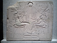 House Altar wih Akhenaten, Nefertiti and Three Daughters, detail with