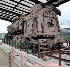 Locomotive train engine from Jangdan station riddled with over 1000 bullet holes shot by North Korean army during the war (Amitrajit Chatterjee) Tags: korea seoul southkorea dmz northkorea jsa  panmunjom  dprk  prk republicofkorea demilitarizedzone democraticpeoplesrepublicofkorea militarydemarcationline  koreandemilitarizedzone    38thparallelnorth locomotivetrainenginefromjangdanstationriddledwithover1000bulletholesshotbynorthkoreanarmyduringthewar