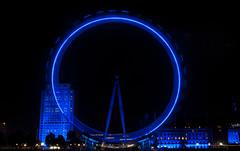 Spinning Wheel (MegMoggington) Tags: city uk blue summer england london wheel night fast londoneye southbank spinning riverthames countyhall slowshutterspeed