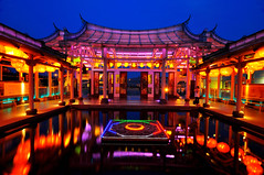 Glass Temple , (Vincent_Ting) Tags: blue sunset night clouds temple taiwan  bluehour formosa