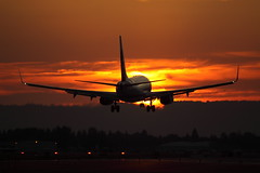 (Eagle Driver Wanted) Tags: sunset plane airport aircraft jet landing pdx portlandairport boeing airliner aero aerospace 737 vortices alaskaairlines avaition boeing737 jetairliner kpdx portlandinternationalairport