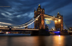 Olympic Gold (Richard Beech (rdb75)) Tags: city longexposure bridge london tower thames night towerbridge reflections river lights bluehour gherkin hdr 2012 olympicgames olympicrings olympicgold photomatix richardbeech rdb75