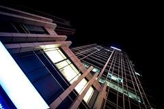 Pausing while the show goes on - Zhongguancun (hjl) Tags: china light building architecture night grid beijing wideangle haidian zhongguancun canonefs1022mmf3545usm