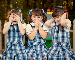 See no evil, Speak no evil, Hear no evil. (sugarmagphoto) Tags: girls portrait silly kids children smiles triplets backtoschool
