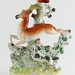 240. Antique Leaping Stag Staffordshire Spill Vase