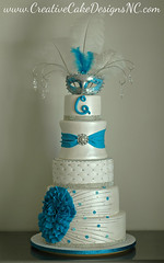 Quinceanera Cake (Christina's Dessertery) Tags: birthday blue party white flower cake silver sweet teal border feathers northcarolina 15 diamond round fancy quilting 16 bling jewel broach quinceanera fondant frill christinajohnson dragees mascuerade creativecakedesigns