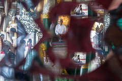 Shwedagon Pagoda (Tomasz Kulbowski) Tags: shwedagon pagoda yangon myanmar rangoon burma reflection kaleidoscope buddhism buddha temple religion southeastasia asia prayer devotion mirror streetphotography fotografiauliczna layers composition complex