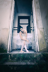 The fairy queen (RuiFAFerreira) Tags: abandoned aged hospital psychiatric decay oblivion old urbex urban urbanexploration uwa exploration mood model blue green dancer ballet ballerina balletdancer female beauty conceptual interior exterior dress makeup portrait people elegance white door trespassing dark