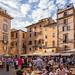 Busy sidewalk cafés in Piazza della Rotonda, Rome