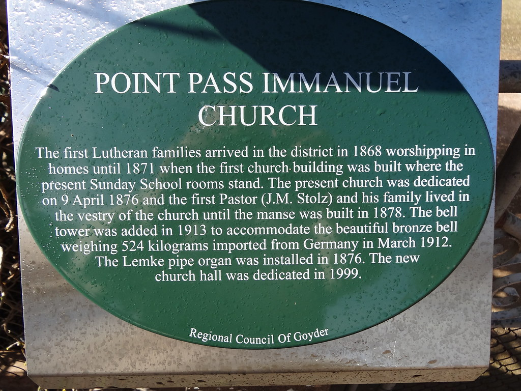 Point Pass. Information board about the Point Pass Lutheran church seminary and college.