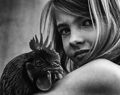 Linn's Chicken (.Betina.) Tags: girl chicken blackandwhite portrait betinalaplante childhood child portraiture