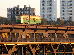 Crossing at Heights (brenGT2) Tags: edmonton high level bridge streetcar river valley north saskatchewan evening sunset