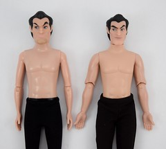 Deluxe vs Designer Gaston 12 Inch Dolls - Shirtless - Lying Down - Midrange Front View (drj1828) Tags: us disneystore dfdc heroesandvillains disneyfairytaledesignercollection 2016 gaston purchase deboxed deluxedollgiftset beautyandthebeast comparison undressed outfits shirtless 12inch