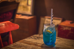 Blue Lemonade (satochappy) Tags: cafe lemonade cafeonceuponatime stilllife drink fizzy fizzydrink old antiques retro furniture table chair bubbles blue red lemon sydney nsw australia tamron canon serene