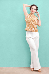 woman wearing white pants (jancamilleri) Tags: 20s beautiful beautifulpeople beauty blue brownhair caucasian cheerful clothing copyspace dressshoe earring elegance fashion fashionmodel fashionable formalwear fulllength gold green greenbackground highheels highsociety jewelry leaning legscrossedatankle lifestyles looking lookingaway luxury oneperson outdoors pants pattern people portrait shoe shorthair smiling standing top wall wealth white women youngadult youngwomen