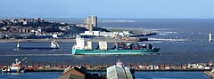 Ships passing on the Mersey (White Pass1) Tags: rivermersey thewirral newbrighton perchrocklighthouse lighthouse ships shipspassing bootle bootledocks irishsea