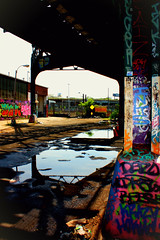 Relfection. (kateboonephoto) Tags: street new york city nyc newyorkcity railroad streetart newyork reflection art abandoned love philadelphia colors brooklyn train landscape graffiti washingtondc dc bright tracks queens philly 5pointz