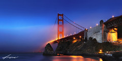 Morning Jazz (Andrew Louie Photography) Tags: morning bridge blue coffee fog golden spring gate glow peace baker fort jazz hour