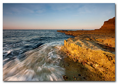 Gold rush.... (Mark Leader) Tags: uk sea seascape art sunrise print poster portland gold dawn golden coast rocks waves wallart canvas dorset swirl decor wallhanging portlandbill rushing