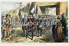 0065146 (Granger Historical Picture Archive) Tags: street city people english dutch leg north governor engraving handicap stuyvesant pieter colony surrender amputee 1664 colonist newamsterdam pegleg newnetherland