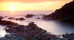 Tranquility (Alistair Hamill) Tags: world ocean ireland sunset sea mist heritage site rocks long exposure atlantic giants northern causeway
