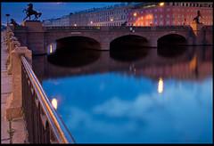 St. Petersburg. Anichkov bridge. (Yuri Degtyarev) Tags: city morning bridge saint st night zeiss river t photo long exposure sony tripod petersburg carl yuri alpha filters sel  fontanka oss slik cokin nex  p120    anichkov  degtyarev 18553556  vf49ndam sel1855 nex7 gnd33
