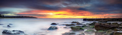 Curly Sunrise (Bruce_Hood) Tags: ocean longexposure seascape water clouds sunrise rocks pano sydney australia panoramic nsw newsouthwales northernbeaches curlcurl
