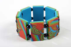 Multicoloured polymer clay tile bracelet (bycreativehands) Tags: blue red green shop shopping magazine tile beads purple handmade turquoise unique multicoloured polymerclay fimo clay bracelet buy tutorial polymer
