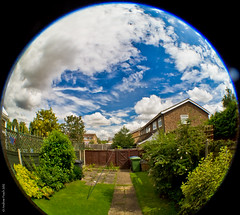 """Day 326/365 - """"Another day in the Fish-bowl"""" (peachyboii) Tags: blue sky fish green eye grass clouds contrast project garden day distorted sony fisheye round 365 alpha hdr slt lightroom a55 opteka sonyphotographing"""