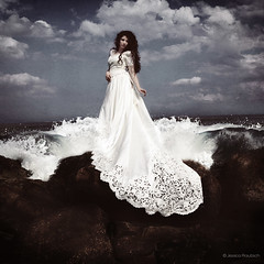 All this devotion was rushing over me (jessicaprautzsch) Tags: sea sky woman water rock clouds coast waves dress wind lonely