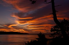 Sunrise at Narvaez Bay (Alejandro Erickson) Tags: ocean sunset red sky canada night sunrise nationalpark bc cloudy britishcolumbia reserve gulfislands saturna narvaez