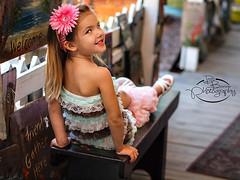 (whatUthinkin) Tags: pink portrait brown white art girl smile bench painting children photo shoot sitting child photoshoot young olympus bow session elkhart goshen in shipshewanna leggins e620 dalebarlowphotography