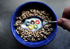 breakfast of champions (pukunui81) Tags: cheerios honeynutcheerios olympics olympicrings breakfast bowl cereal milk spoon canon canoneos550d 550d t2i