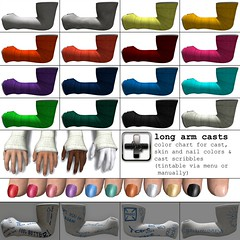 [ht+] long arm casts - color chart (Corvus Szpiegel) Tags: fall broken hospital this pain hurt long arm accident injury plaster ambulance medical cast doctor xray hate bone nurse wrist ht fiber medic fracture bandage brace splint injured immobile fibre ortho radius orthopedic immobilised ulna