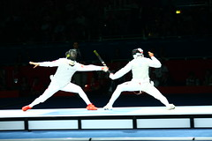 Lei Sheng vs Alaaeldin Abouelkassem (hvonblumenthal) Tags: china italy white coach foil egypt finals winner fencing olympics southkorea goldmedal silvermedal excel piste bout london2012 semifinals bronzemedal leisheng alaaeldinabouelkassem mensindividualfoil