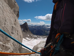 The Bugaboos - On Belay (Tideline to Alpine Photo, Idiosyncrasy Exemplified) Tags: camping sky selfportrait snow mountains expedition clouds spires glacier adventure climbing alpine mountaineering wilderness alpinism bugaboos belaying petzl thebugs alpineclimbing crescentglacier bugabooprovincialpark halfropes crescentspire applebeecamp applebeedome