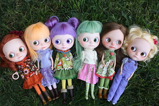 The gang as it stands today. (Bubble Boom and Una missing. I customized all the dolls, and sewed all the clothes. It's my thing right now.)