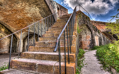 Ft Pickens Stairway (grandalloliver) Tags: vacation canon florida sigma wideangle 1020mm hdr pensacola pensacolabeach topaz sigma1020mm fortpickens photomatix rebelxsi canonxsi topazadjust grandalloliver grandalloliverphoto